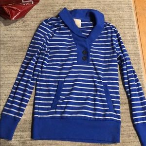 Blue and white light weight sweatshirt